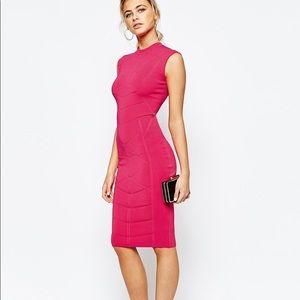 Ted Baker Fuchsia Hot Pink Body Con Midi Dress 14